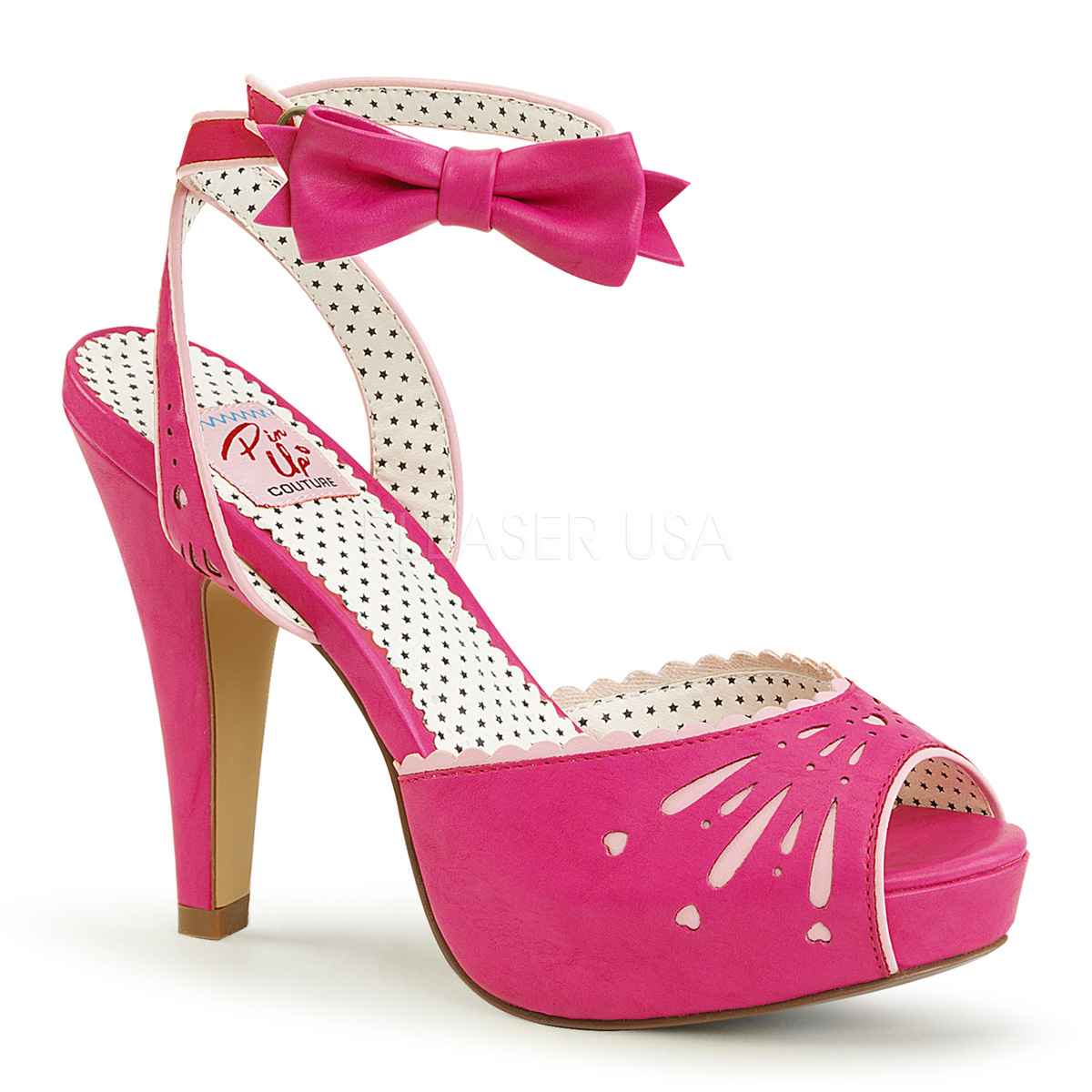 Pin Up Couture Damen Plateau Peep Toe Sandaletten Sandalen Bettie 01 hot pink